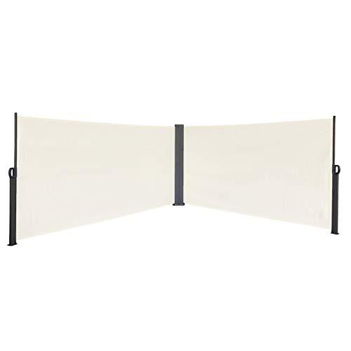 SVITA Doppel Seitenmarkise Sichtschutz Sonnenschutz ausziehbar 600x200cm Beige