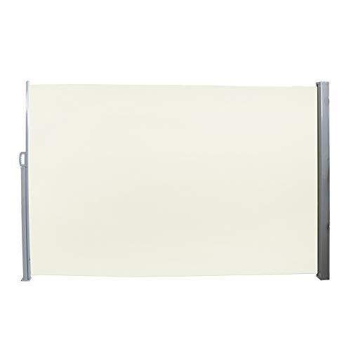 LARS360 Ausziehbar Seitenmarkise Sonnenschutz Sichtschutz Windschutz, Seitenwandmarkise Markisenstoff für Balkon und Terrasse Camping, Aus Polyester und Alu Metall Ständer (160x300cm, Beige)