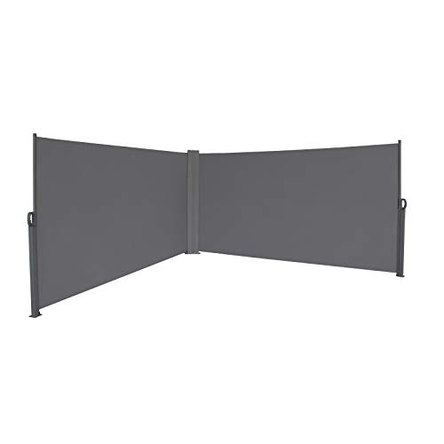 SVITA Doppel Seitenmarkise Sichtschutz Sonnenschutz ausziehbar 600x160cm Dunkelgrau Anthrazit