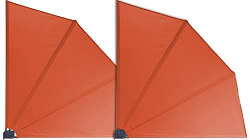 GRASEKAMP Qualität seit 1972 2 Stück Balkonfächer Orange Premium 140 x 140 cm mit Wandhalterung Trennwand Sichtschutz