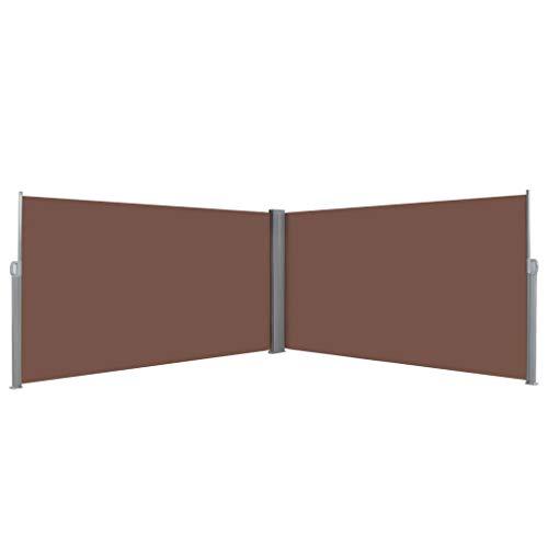 yorten Ausziehbare Seitenmarkise, Doppel Seitenmarkise, Sichtschutz, Seitenrollo, Sonnenschutz, Stoff mit PA-Beschichtung, 600 x 160 cm (Braun)