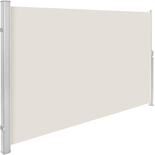 TecTake Seitenmarkise Sonnenschutz Sichtschutz Windschutz | Gehäuse und Standpfosten komplett aus Aluminium | - Diverse Farben und Größen - (Beige | 180x300cm | Nr. 401529)