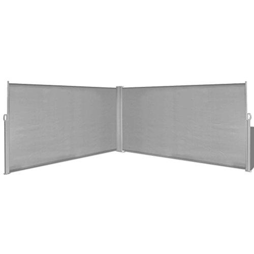 yorten Ausziehbare Seitenmarkise Markise Standmarkise mit Standpfosten Sichtschutz Sonnenschutz 160 x (0-600) cm (H x B) für Balkon Terrasse Grau