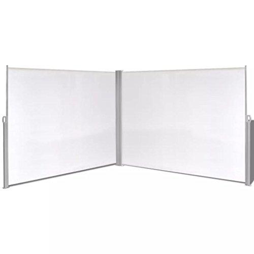 yorten Ausziehbare Seitenmarkise, Markise Sonnenschutz, Sichtschutz, Windschutz, Beidseitiger,180 x 600 cm (Creme)