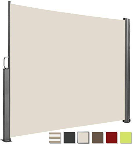 Brubaker Seitenmarkise Maui für Balkon und Terrasse - Ausziehbar - Aluminium - Creme beige - 300 x 180 cm