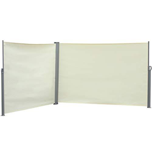 Outsunny Doppel-Seitenmarkise, Sicht- und Sonnenschutz, Seitenrollo, Polyester, Creme, 6 x 1,8 m