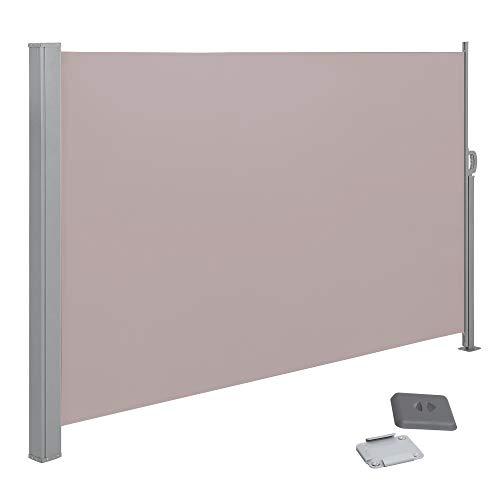 SONGMICS Seitenmarkise,ausziehbar,200 x 300cm (H x L), Sichtschutz, Sonnenschutz, Seitenrollo, für Balkon, Terrasse, Garten,Taupe GSA200K02