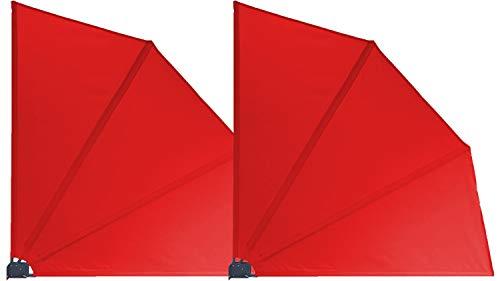 GRASEKAMP Qualität seit 1972 2 Stück Balkonfächer 120 x 120 cm Rot mit Wandhalterung Trennwand Sichtschutz