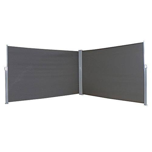 MCTECH® Doppel-Seitenmarkise Zertifiziert Sonnenschutz Sichtschutz Windschutz Terrasse Markise Polyester (1.6 * 6m, Anthrazit)