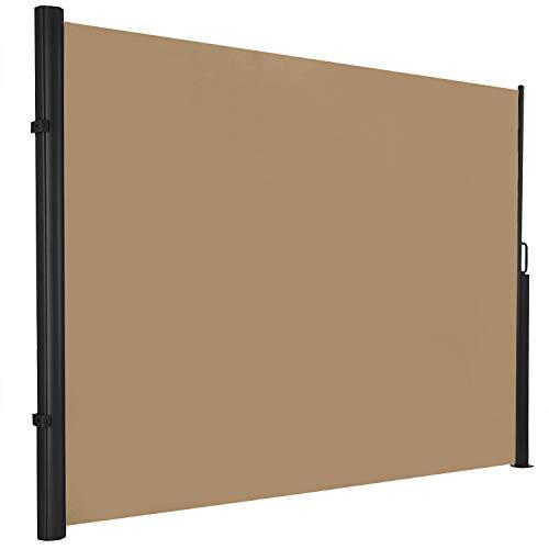 hausratplus ALU Seitenmarkise Seitenrollo osoltus Höhe 1.80m bis 3,50m Länge Windschutz extra lang Farbe: Sand
