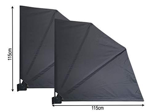 QUICK STAR 2 Stück Sichtschutz Fächer 115 x 115 cm Stoff Balkon Trennwand Windschutz Sonnenschutz Grau