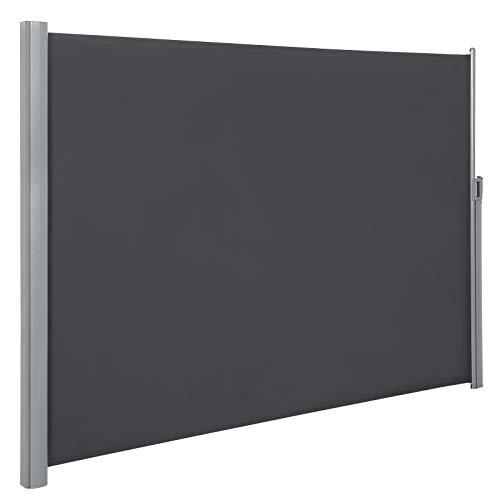 SONGMICS Seitenmarkise, 180 x 400 cm (H x L), Sichtschutz, Sonnenschutz, Seitenrollo, für Balkon, Terrasse, Garten, grau GSA184G