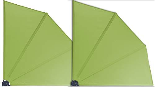GRASEKAMP Qualität seit 1972 2 Stück Balkonfächer Apfelgrün Premium 140 x 140 cm mit Wandhalterung Trennwand Sichtschutz