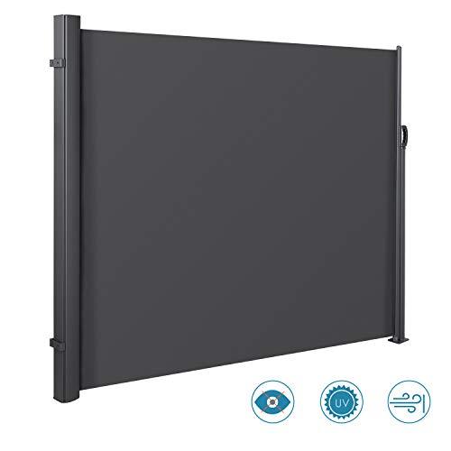 MVPower Seitenmarkise Alu 300 x 160 cm (L x H) - 280 g/m² - Ausziehbar Sonnenschutz Sichtschutz für Balkon, Terrasse, Garten, Seitenwandmarkise, Seitenrollo