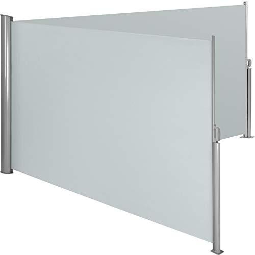 TecTake Doppel- Seitenmarkise Sonnenschutz Sichtschutz Gehäuse und Standpfosten komplett aus Aluminium - Diverse Farben und Größen - (Grau | 200x600cm | Nr. 402337)