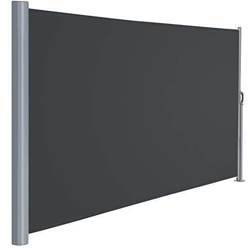 Viewee Seitenmarkise Alu - 180 x 300 cm (H x L), Automatisches Zurückspulen Seitenrollo, Sichtschutz, Sonnenschutz, Windschutz, Seitenmarkise für Balkon, Terrasse, Garten
