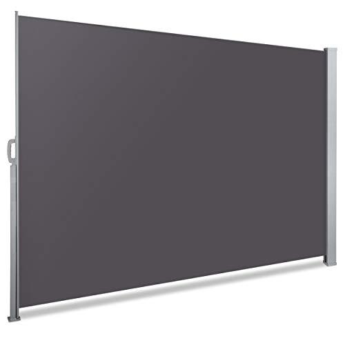 VOUNOT Seitenmarkise Ausziehbar für Balkon, Garten und Terrasse, Sichtschutz, Windschutz, Wasserdicht, Sonnenschutz, 180 x 300 cm, Grau