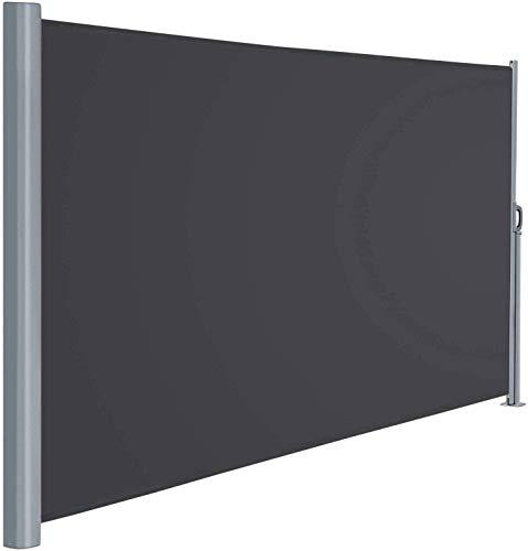 Viewee Seitenmarkise Alu - 160 x 300 cm (H x L), Automatisches Zurückspulen Seitenrollo, Sichtschutz, Sonnenschutz, Windschutz, Seitenmarkise für Balkon, Terrasse, Garten