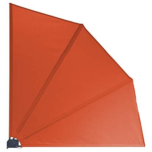 GRASEKAMP Qualität seit 1972 Balkonfächer 120 x 120 cm Orange mit Wandhalterung Trennwand Sichtschutz