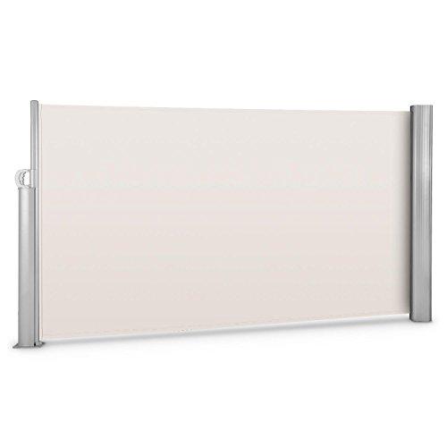 blumfeldt Bari 316 - Seitenmarkise, Standmarkise, Seitenrollo, Sichtschutz, Sonnenschutz, Polyester 300 x 160 cm, ausziehbar, wasserabweisend, UV-beständig, Creme