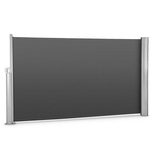 blumfeldt Bari 318 - Seitenmarkise, Standmarkise, Seitenrollo, Sonnenschutz, Polyester 300 x 180 cm, ausziehbar, wasserabweisend, UV-beständig, selbstspannend, pulverbeschichtet, anthrazit