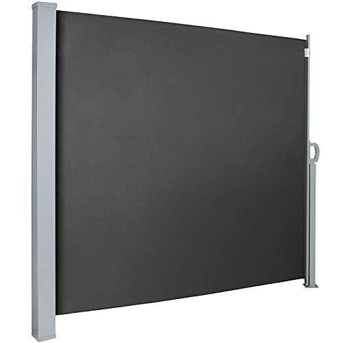 UISEBRT Seitenmarkise 160 x 300cm Seitenrollo Sonnenschutz Sichtschutz Windschutz für Balkon Terrasse Garten, Rauchgrau