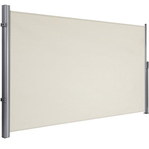SONGMICS Seitenmarkise, 180 x 400 cm (H x L), Sichtschutz, Sonnenschutz, Seitenrollo, für Balkon, Terrasse, Garten, beige GSA184E01