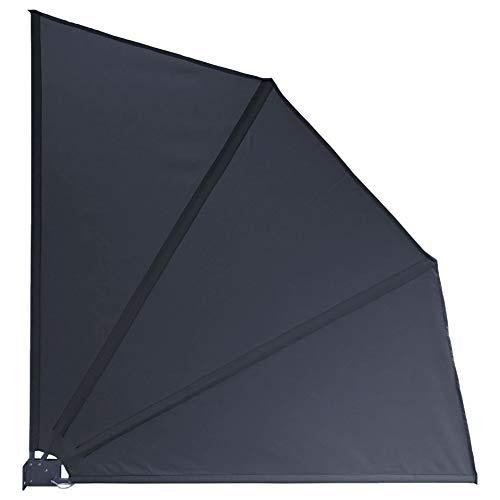 QUICK STAR Sichtschutz Fächer Premium 140x140cm Stoff Balkon Trennwand Windschutz Sonnenschutz Anthrazit