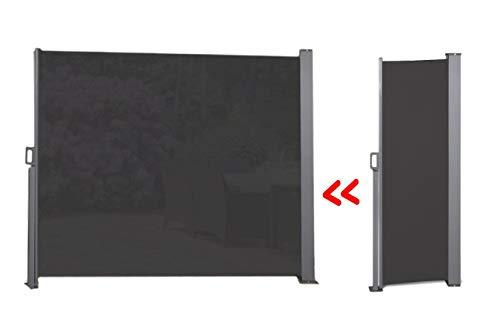 909 OUTDOOR Ausziehbare Seitenmarkise für Terrasse Schwarz, Balkon und Garten, Windschutz stehend aus Polyester, Sonnenschutz, Sichtschutz, 170 x 300 cm