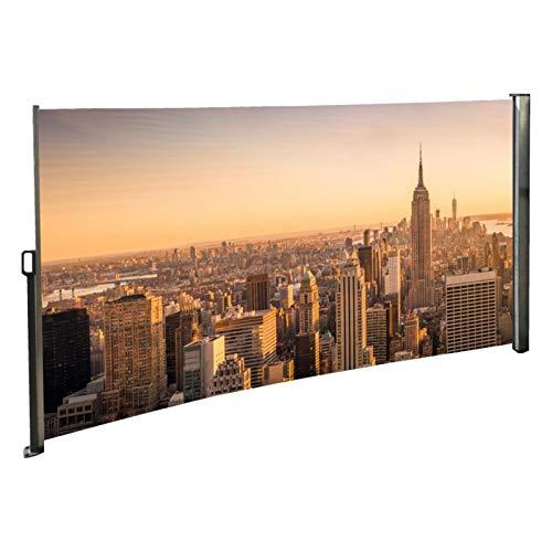 Seitenmarkise mit Foto Skyline New York Rechts - Windschutz/Sichtschutz/Seitenrollo 160 x 300 cm