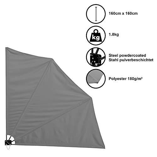 [casa.pro]®] Balkonfächer Wandklappschirm Wandschirm Seitenmarkise Balkonumspannung Klappbar Sichtschutz Balkon Sonnen Wind Schutz Grau / 160x160cm / 1,8kg / Stahl/Polyester 180g/m²
