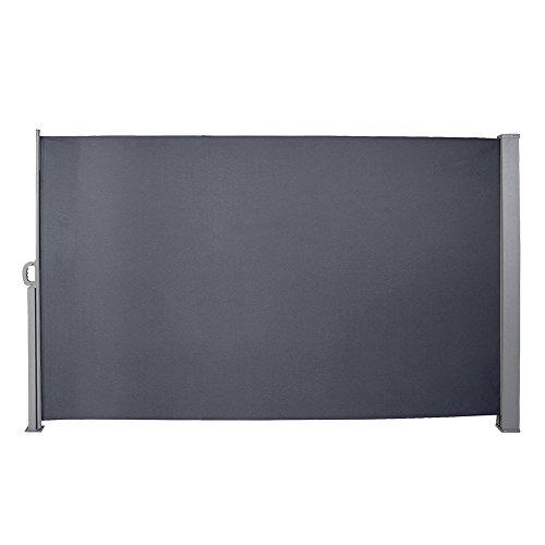Hengda Seitenmarkise-160 x 300 cm Anthrazit TÜV,geprüft UV,Reißfestigkeit,seitlicher Sichtschutz sichtschutz,für Balkon Terrasse ausziehbare markise