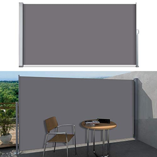 SVITA Seitenmarkise Kassetten-Rollo Sichtschutz Sonnenschutz Seitenrollo für Balkon Terrasse Garten in Schwarz,Grau, Beige 160 x 300cm, 180 x 300cm, 200 x 300cm (160 x 300cm, Dunkelgrau/Anthrazit)