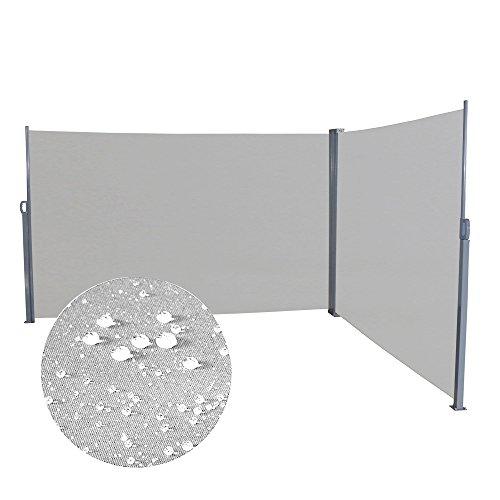 Froadp 160×600cm Ausziehbar Seitenmarkise Robust Polyester Windschutz und Sichtschutz Seitenrollo Markisen für Balkon Terrasse Garten(Hellgrau)