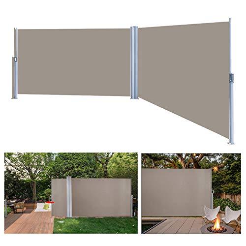wolketon Seitenmarkise Anthrazit TÜV,geprüft UV,Reißfestigkeit,seitlicher Sichtschutz sichtschutz,für Balkon Terrasse ausziehbare markise (160 x 600 cm Brau)