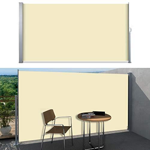 SVITA Seitenmarkise Kassetten-Rollo Sichtschutz Sonnenschutz Seitenrollo für Balkon Terrasse Garten 200x300cm Beige