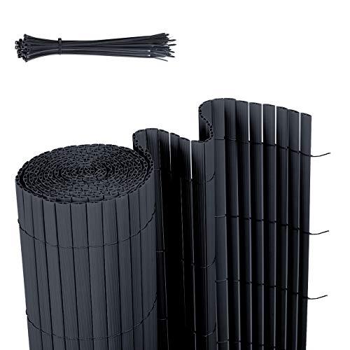 Sekey PVC Sichtschutzmatte Sichtschutzzaun Wetterfest Verstärkt Starke Privatsphäre für Garten, Balkon und Terrasse, mit Strukturierte Oberfläche, mit Kabelbindern, 80 x 500 cm, Anthrazit