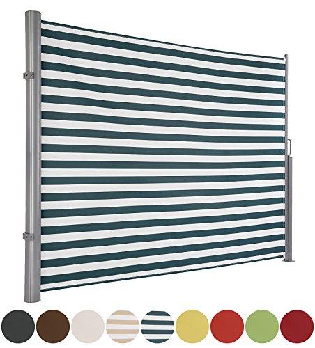 MABAMAHO Seitenmarkise Maui, ausziehbar bis 300 x 180 cm, ALU Rostfrei, Wetterfest, Reißfest, Grün Gestreift