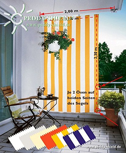 Floracord 05-77-61-00P Senkrechtsonnensegel 230 x 140 cm Blockstreifen mit Zubehör montagefertig, gelb/weiß