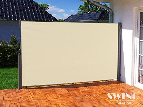 Swing & Harmonie Seitenmarkise Sichtschutz Aluminium Seitenrollo Markise Seitenwand Terasse Balkon (180x300cm, Creme)