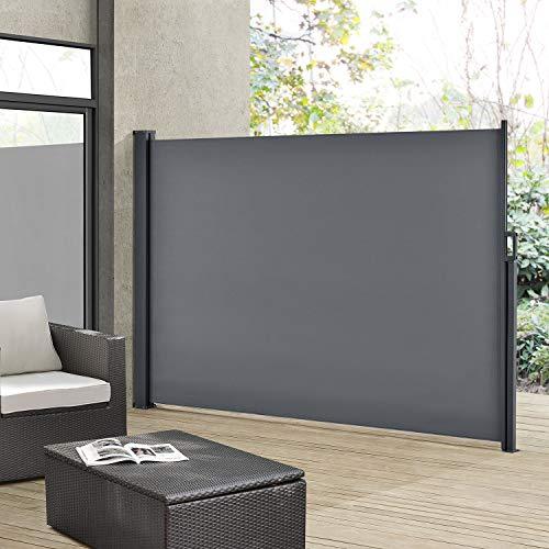 ArtLife Seitenmarkise Dubai 160 x 300 cm ausziehbar Blickdicht, Sichtschutz & Windschutz für Balkon & Terrasse, Seitenrollo mit Wandhalterung - grau