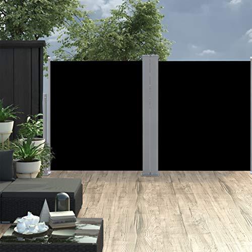 FAMIROSA Ausziehbare Seitenmarkise Doppelt 170 x 600 cm Schwarz