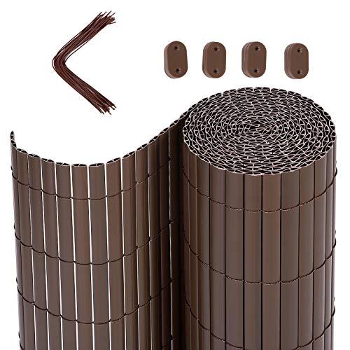 SONGMICS PVC Sichtschutzmatte, 5 x 1,8 m (L x B), Balkonverkleidung, Sichtschutzzaun, Balkonumrandung, Blende mit verstärkten Lamellen, Garten, Balkon, Terrasse, Outdoor, Braun GPF185B