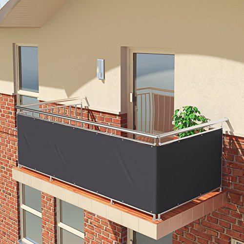 BALCONIO Balkon Sichtschutz wasserabweisend Balkonbespannung Balkonabdeckung für Balkon Terrasse aus Polyester-500 x 85 cm-Anthrazit