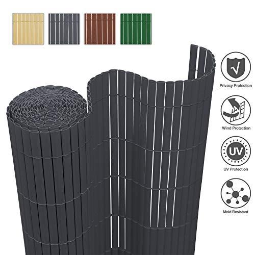 wolketon Sichtschutzmatte Sichtschutzzaun Sichtschutz Windschutz PVC Zaun Ideal für Garten Balkon Terrasse, UV-beständig Wetterfest, 100x600cm Farbe: Grau