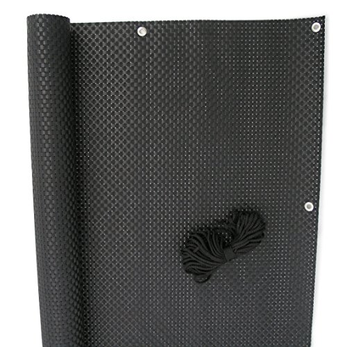 Balkonblende Exklusiv Rattan 0,90 x 3 m/schwarz Balkonumspannung Zaun Sichtschutz Zaunblende Sichtschutzmatte Windschutz