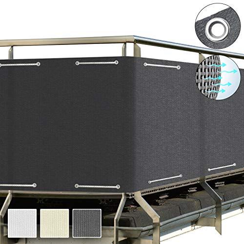 Sol Royal SolVision Balkon Sichtschutz HB2 HDPE blickdichte Balkonumspannung 90x500 cm – Geländer Sichtschutz Anthrazit - mit Ösen und Kordel - in div. Größen & Farben