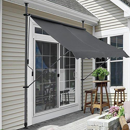 Pro-Tec Klemmmarkise Grau 300 x 120 x 200-300cm Markise Balkonmarkise Sonnenschutz ohne Bohren